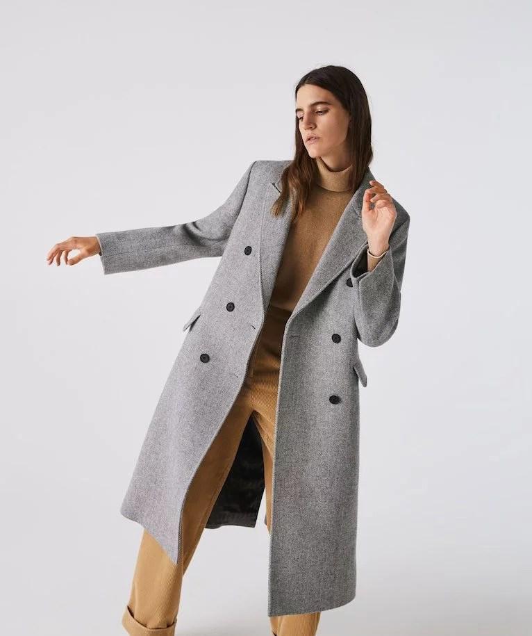 womens long coat gray Lacoste winter 2021 2022
