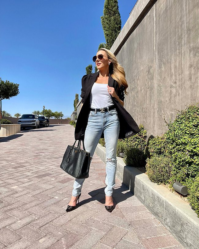 black blazer blue jeans chanel outfit