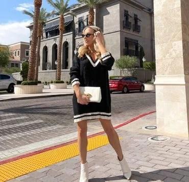 cute sweater dress fashion blogger Glamour Gains