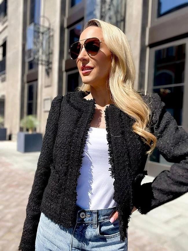 black boucle blazer jeans outfit Glamour Gains fashion blogger