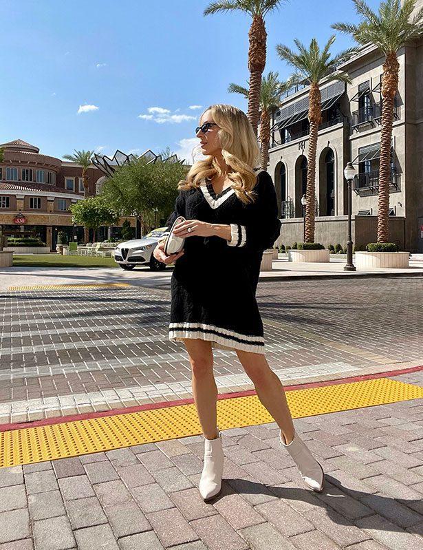 fall capsule wardrobe sweater dress fashion blogger eve dawes