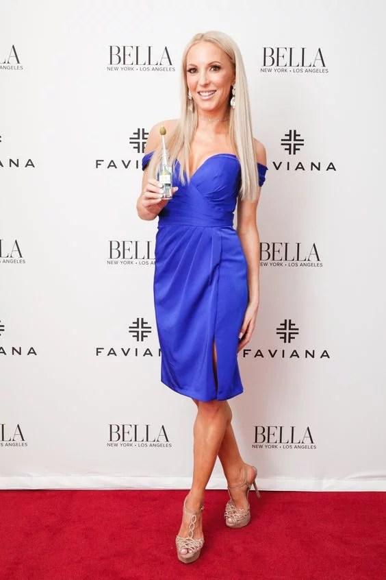 glamour gains red carpet Bella magazine platform shoes sandals blue Faviana dress
