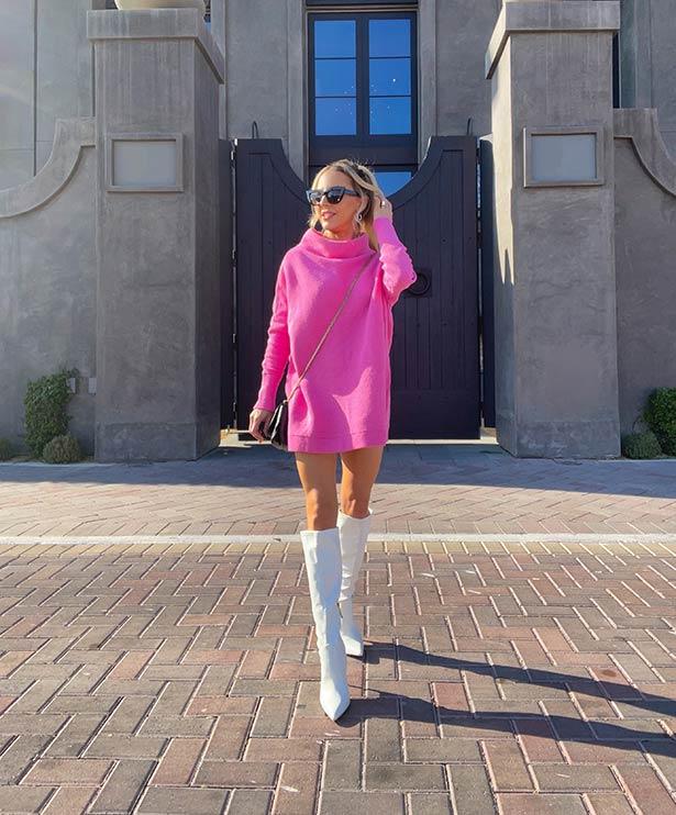 Bebe white boots fashion blogger Eve Dawes Vegas