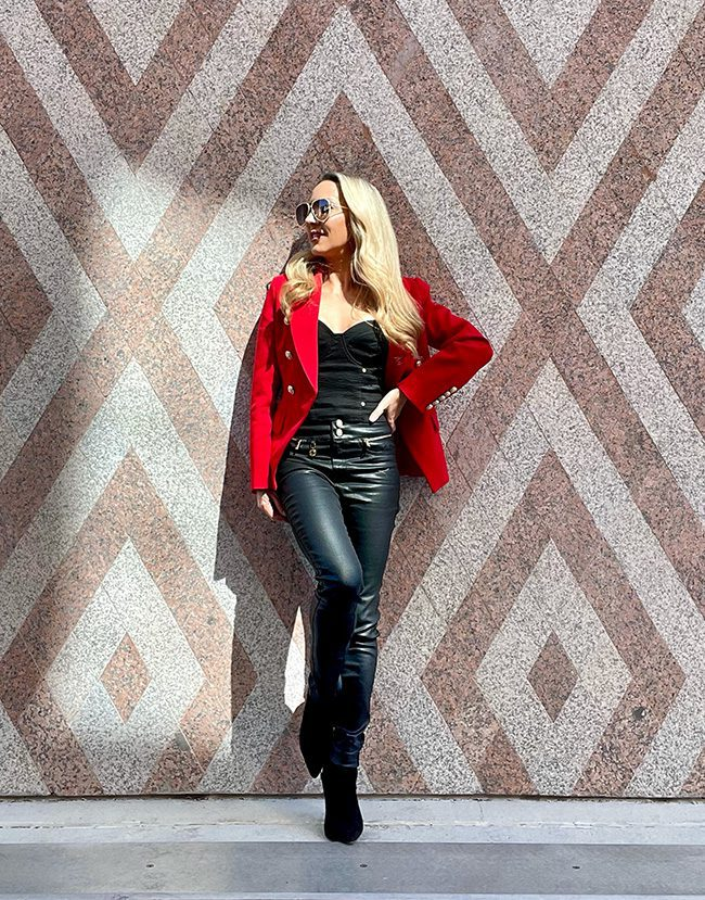 red blazer outfit black jeans fashion blogger wall