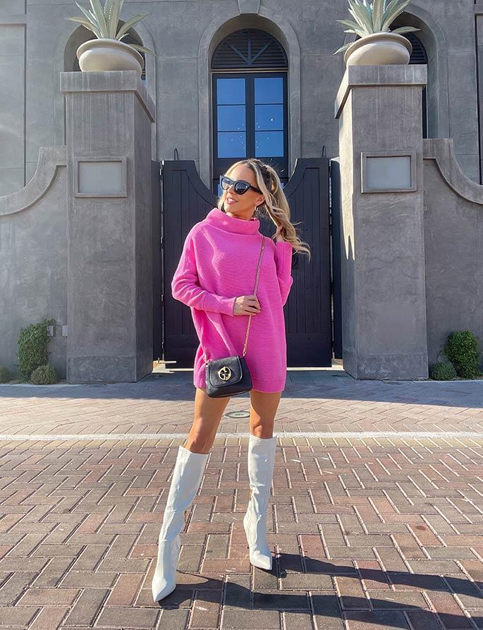 cute sweater dress pink winter fashion blogger Eve Dawes