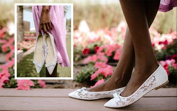Sarah Flint white lace Natalie flat meghan Markle favorite