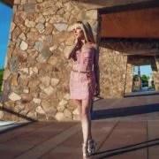 chanel belt womens chain pink tweed dress chanel 2022