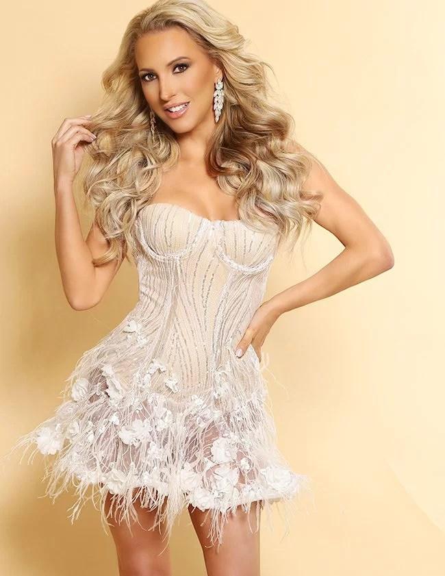mini feather dress Glamour Gains fashion blogger Eve Dawes