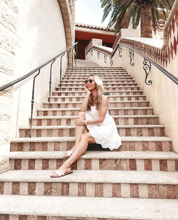 sarah flint shoes Mirjana sandals white glamour gains stairs