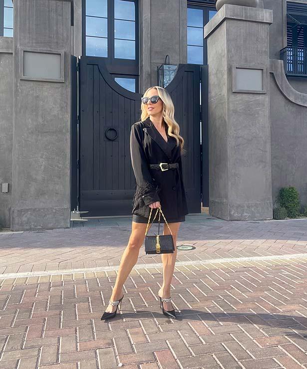 winter trends womens fashion blogger glamour gains feather blazer black