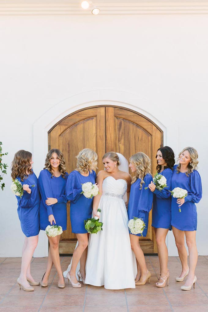 blue bridesmaid dresses | We Heart Photography