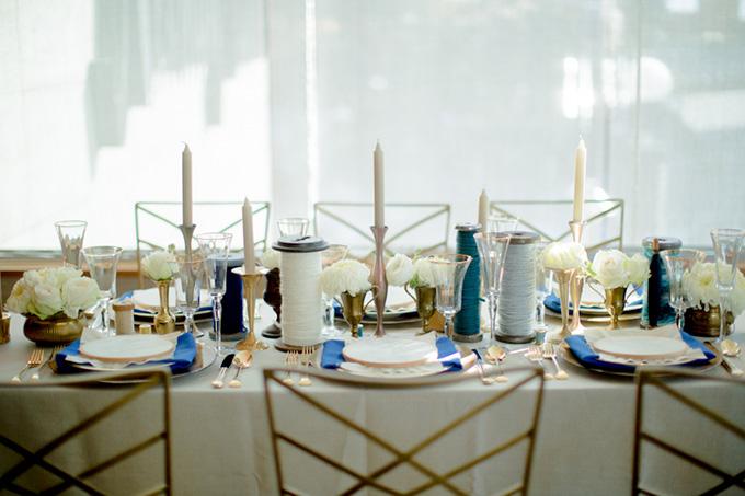 handmade blue and gold wedding inspiration | Kristin La Voie Photography