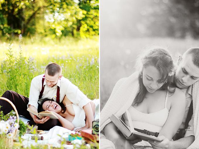 vintage picnic engagement   Kaelyn Elizabeth Photography