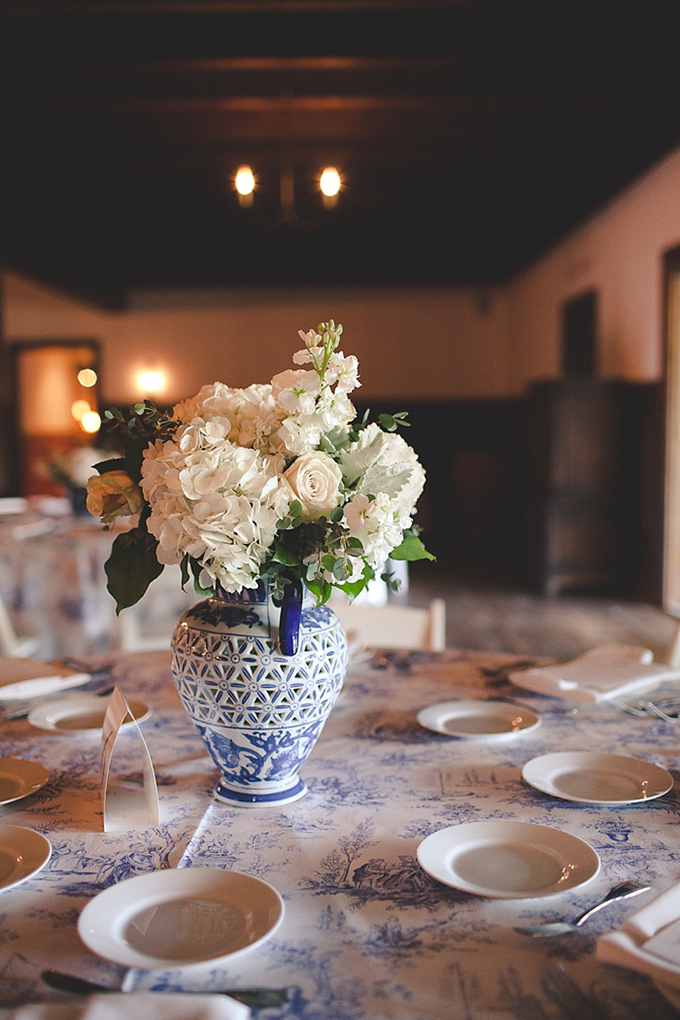 classic blue and whtie centerpieces | Bit of Ivory Photography