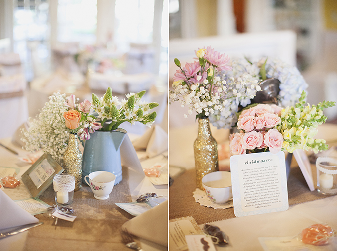 vintage pink centerpieces | Sarah Bray Photography