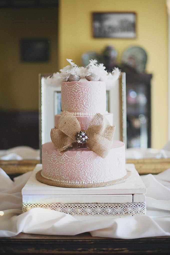pink wedding cake | Sarah Bray Photography