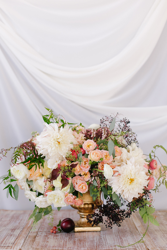 peach and plum centerpiece | Annabella Charles