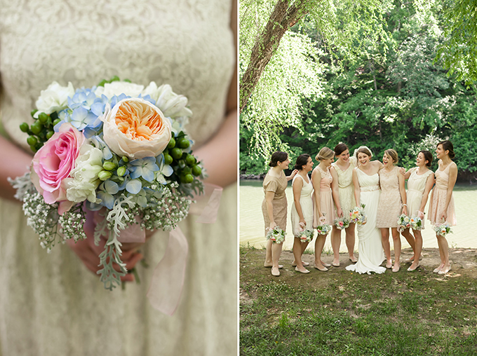 blush and neutral bridesmaids | Sarah Becker Photography