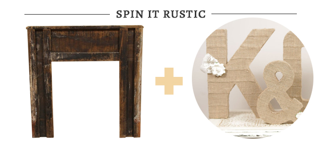 rustic fireplace altar with letters from Duryea Place Designs | Glamour & Grace