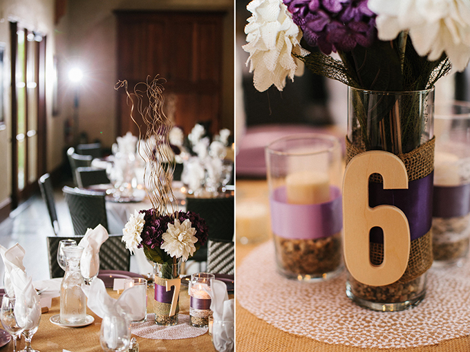 rustic purple centerpieces | Carretto Studio Photography