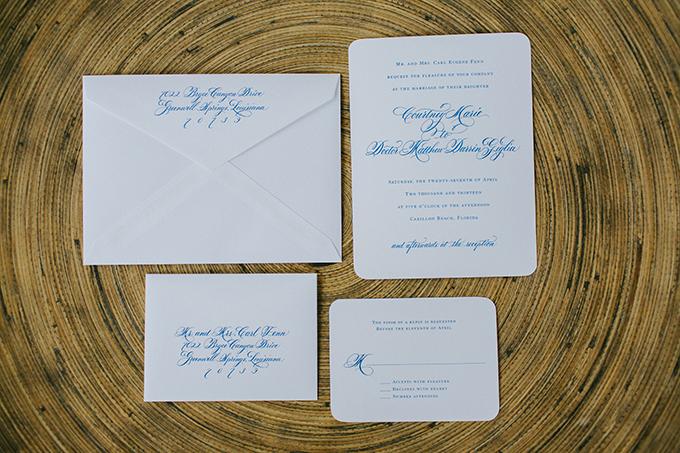 white and blue invitations | pure7studios