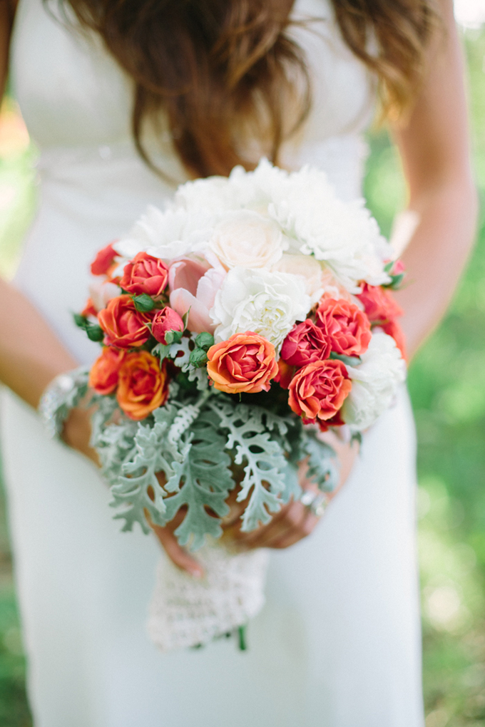 orange and white bouquet | Erica J Photography