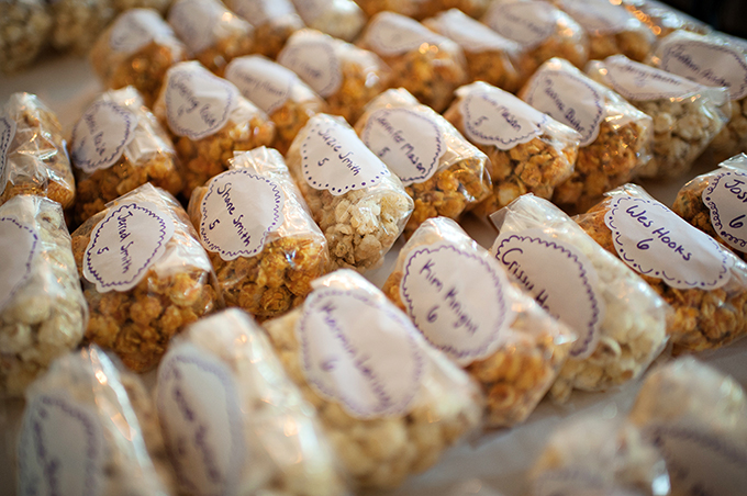 popcorn favor/escorts | Kristen Weaver Photography | Glamour & Grace