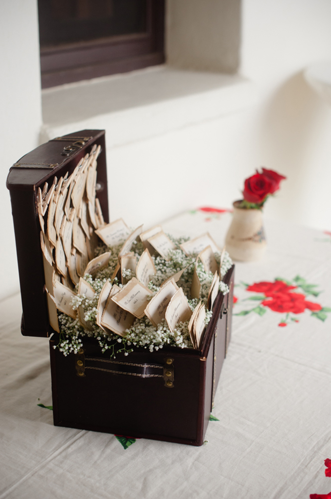 vintage suitcase escort cards | Marcella Treybig Photography | Glamour & Grace
