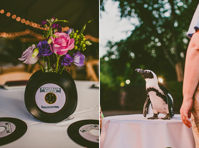 Beatles themed aviary wedding with a penguin as a guest! | Carolyn Scott Photography | Glamour & Grace