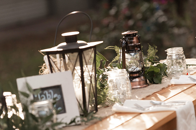 rustic lantern centerpieces | K and K Photography | Glamour & Grace