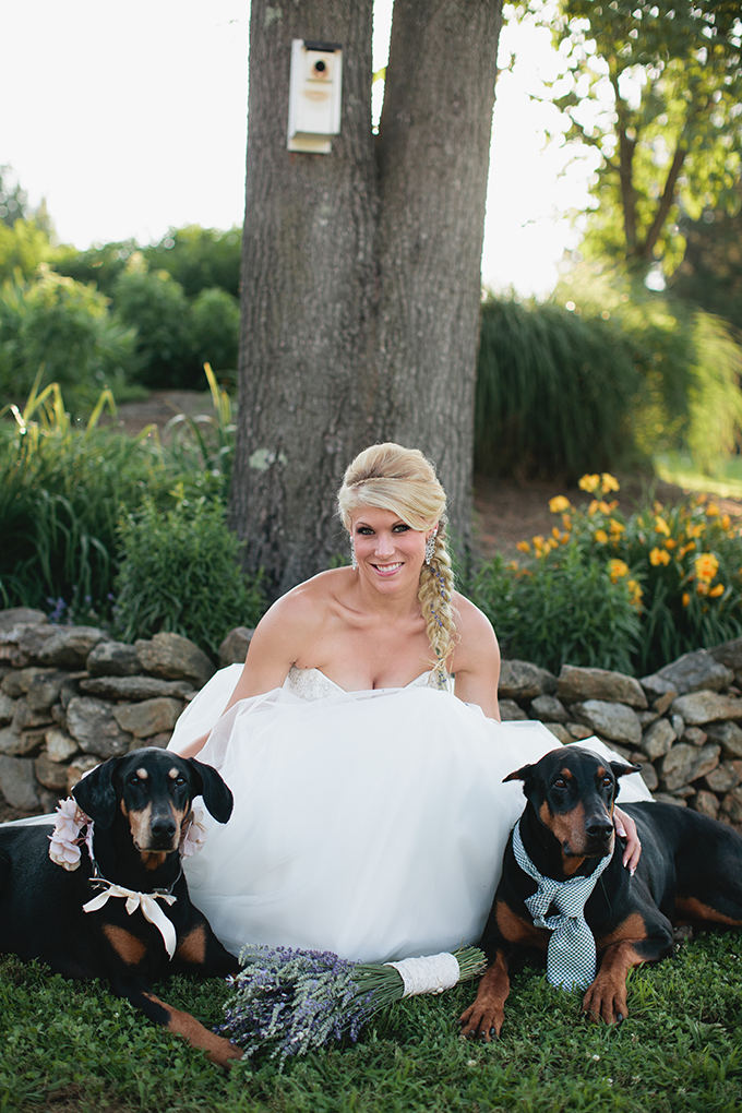 bride and her pups | Courtney Reese Photography | Glamour & Grace