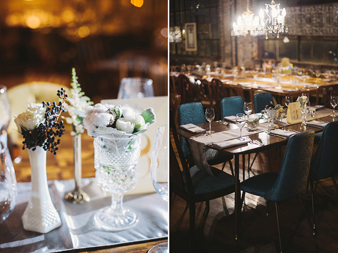 vintage white centerpieces | Two Birds Photography | Glamour & Grace