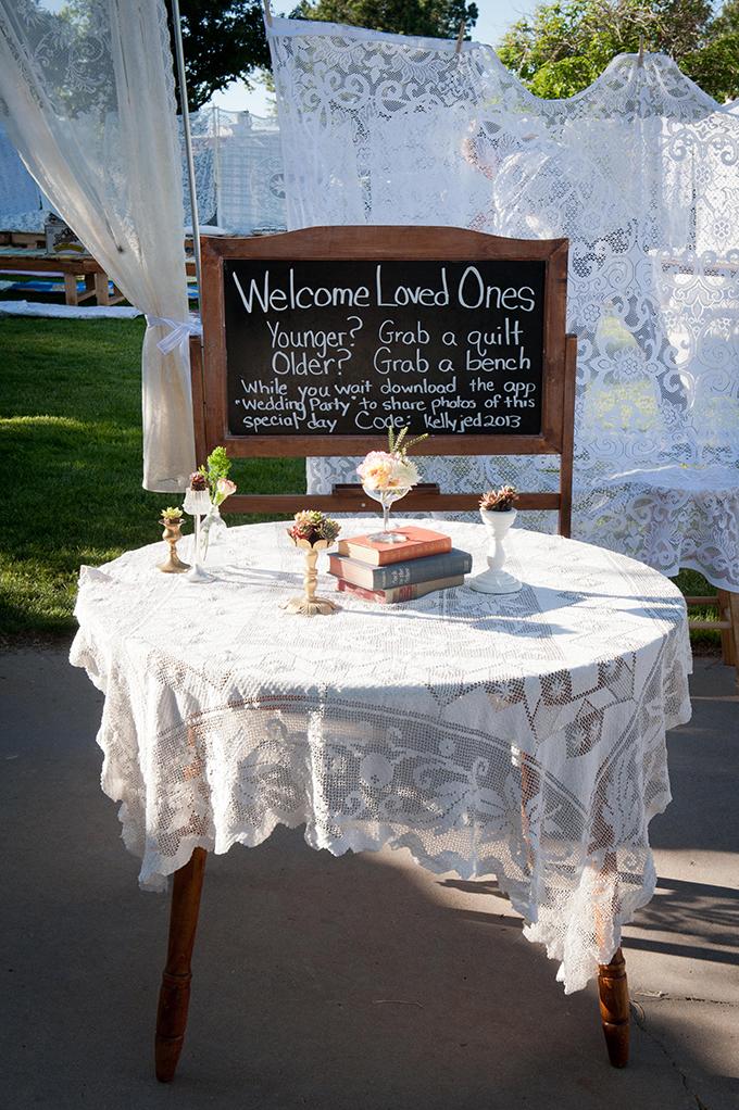 welcome table for backyard wedding | Ellen Jaskol | Glamour & Grace