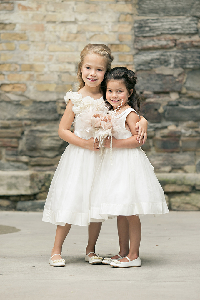 adorable flower girls with feather bouquets | Erin Johnson Photography | Glamour & Grace