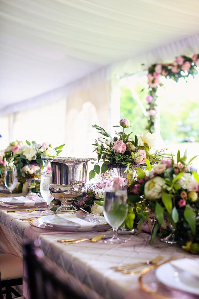 lush pink centerpieces   KaBloom Studios   Glamour & Grace
