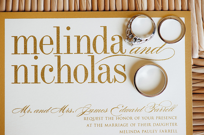 gold wedding invitation | Riverland Studios | Glamour & Grace