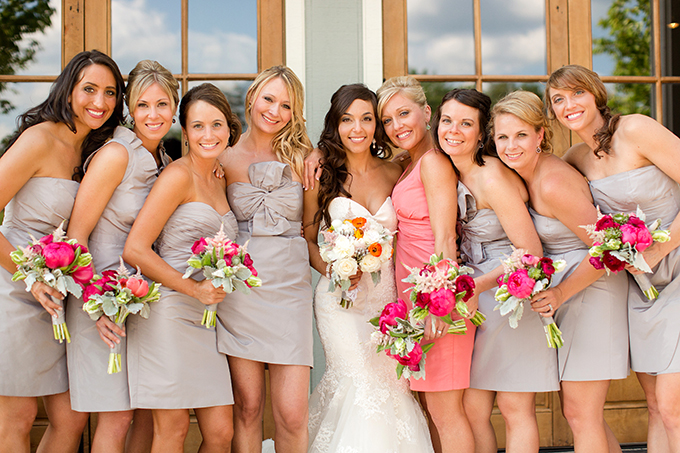 tan and coral bridesmaids | Katelyn James Photography | Glamour & Grace