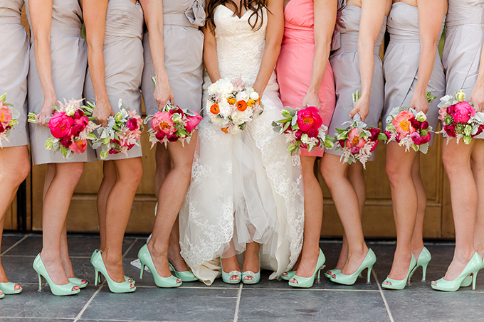 pops of mint and coral bridesmaids | Katelyn James Photography | Glamour & Grace