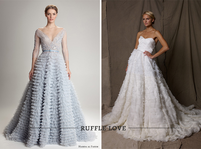 Jackie O wedding look- ruffle gowns