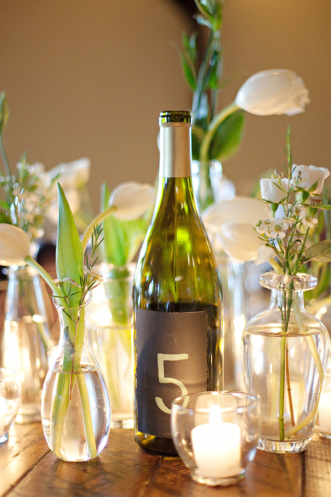 wine bottle table number | Paperlily Photography | Glamour & Grace