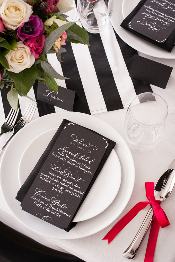black and white calligraphy menu | Jessamyn Harris | Glamour & Grace