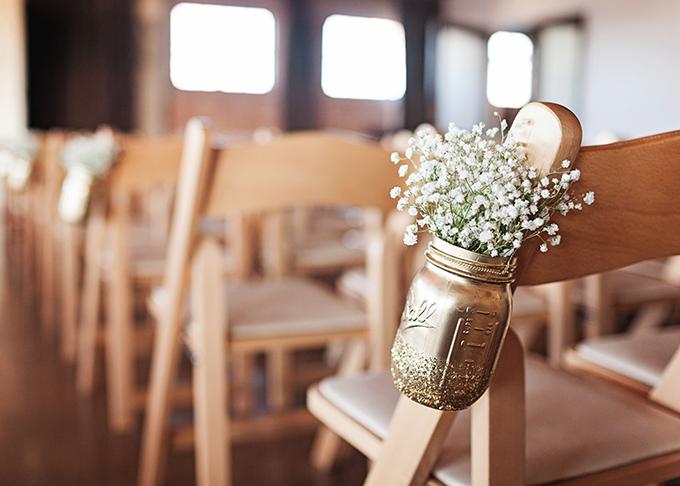 gold mason jar ceremony decor | Miranda Marrs Photography | Glamour & Grace
