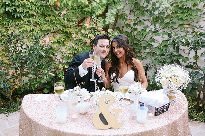 sequin sweetheart table   Allie Lindsey Photography   Glamour & Grace