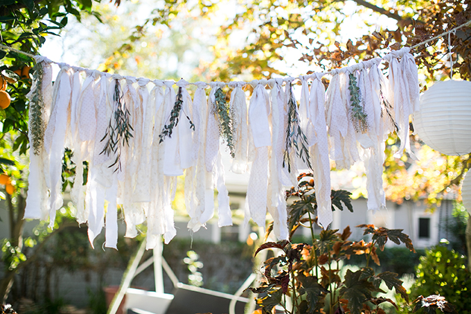 fabric and greenery garland   Lovers of Love   Glamour & Grace