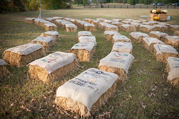 hay bale ceremony seating | Mike B Photography | Glamour & Grace