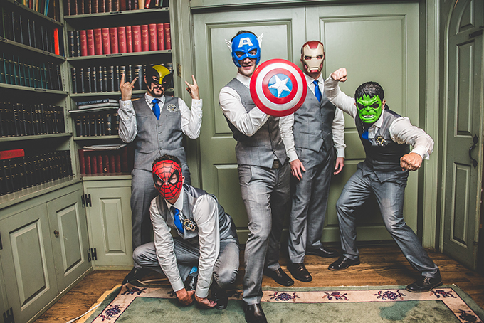 superhero groomsmen | BG Productions Photography | Glamour & Grace