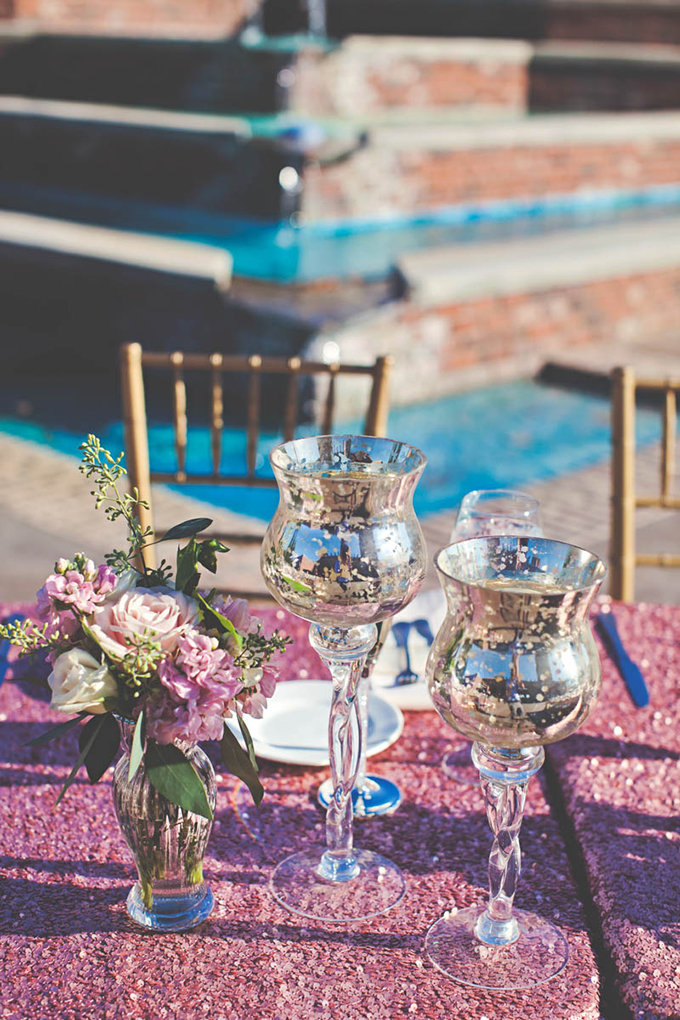 pink sequin centerpieces | Lindsey Gomes Photography | Glamour & Grace