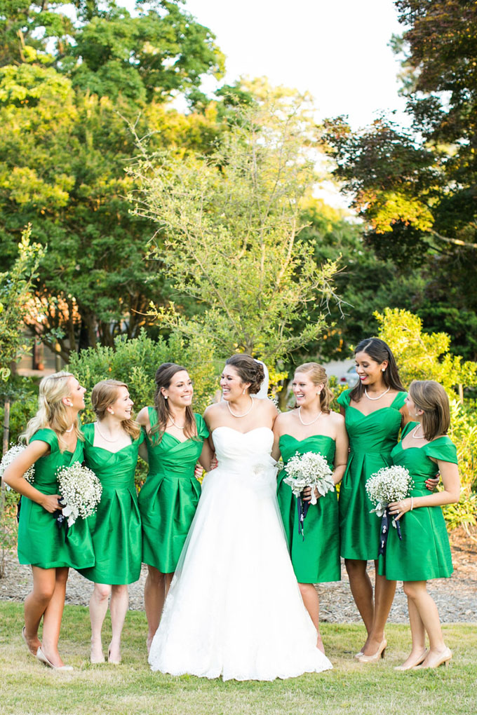 green bridesmaids | Macon Photography | Glamour & Grace