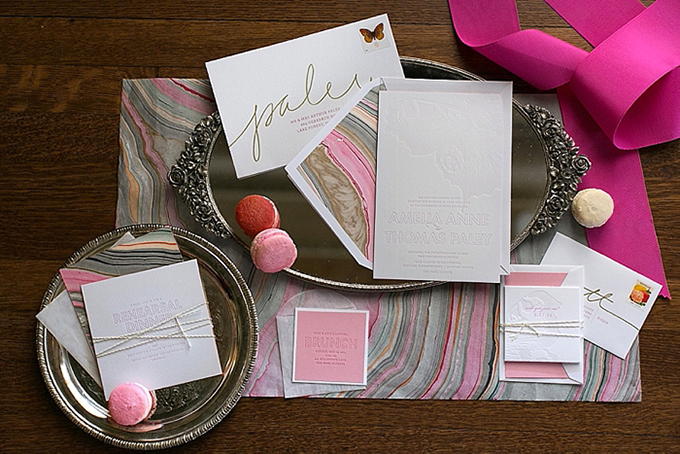 marbled invitation from Post Script Paper | Christy Tyler Photography | Glamour & Grace