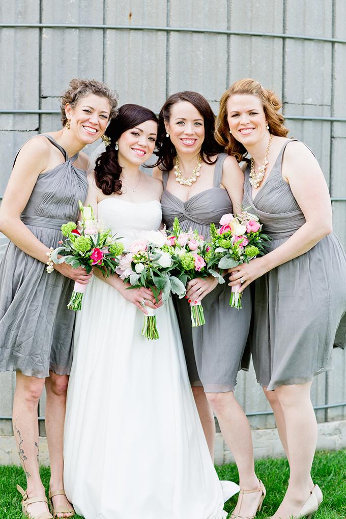 gray bridesmaids | Cassandra Photo | Glamour & Grace